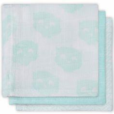 Lot de 3 essuie-mains hydrophiles chouette vert d'eau (31 x 31 cm)