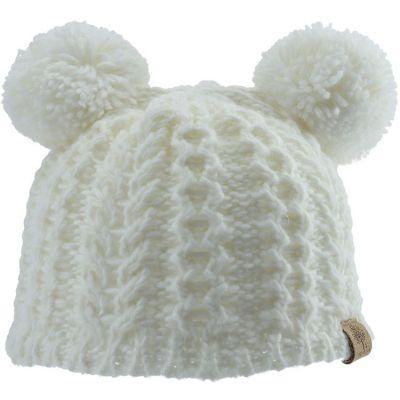 Bonnet en tricot 2 pompons écru (12-18 mois)
