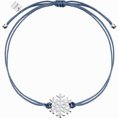 Bracelet sur cordon bleu Life flocon (argent 925°)  par Coquine
