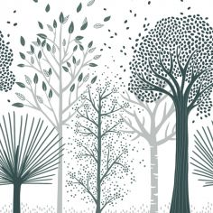 Papier peint intissé Forêt bleu M. Fox (10 m)