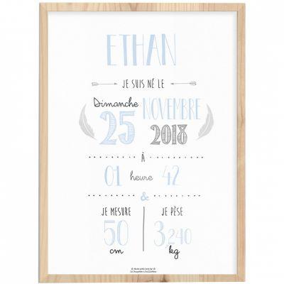 Affiche de naissance encadrée A3 bleu ciel (personnalisable)  par La Poupette à paillettes