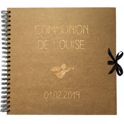 Album photo communion personnalisable kraft et or (30 x 30 cm) Les Griottes