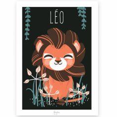 Affiche A4 Les Animignons le lion (personnalisable)
