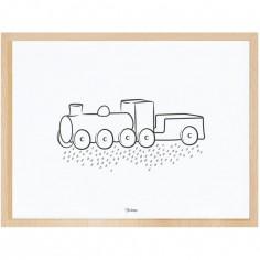 Affiche encadrée la locomotive (30 x 40 cm)