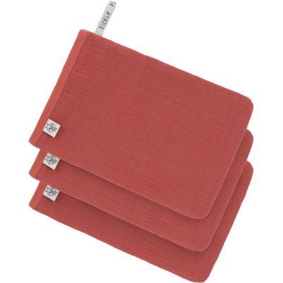 Lot de 3 gants de toilette en mousseline de coton bois de rose  par Lässig