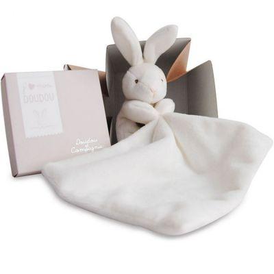 Coffret doudou mouchoir lapin (10 cm)  par Doudou et Compagnie