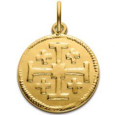 Médaille croix de Jérusalem 18 mm (or jaune 750°)