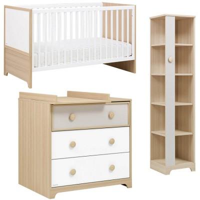 pack trio olympe lit bb volutif bibliothque et commode. Black Bedroom Furniture Sets. Home Design Ideas