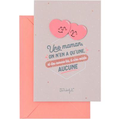 Carte décorative Une maman, on n'en a qu'une (12 x 18 cm)