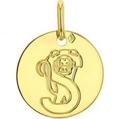 Médaille S comme singe (or jaune 750°)