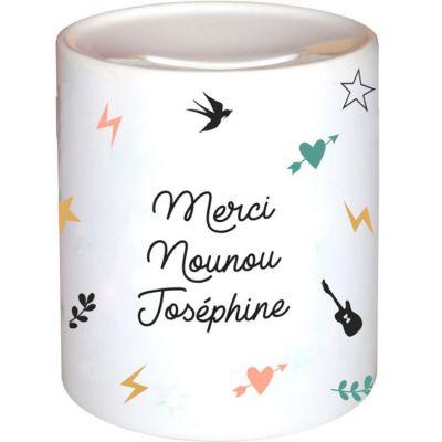 Tirelire Nounou Capsule (personnalisable)  par Les Griottes