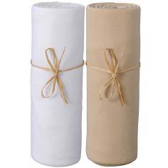 Lot de 2 draps housses en coton bio blanc et cappuccino (60 x 120 cm)