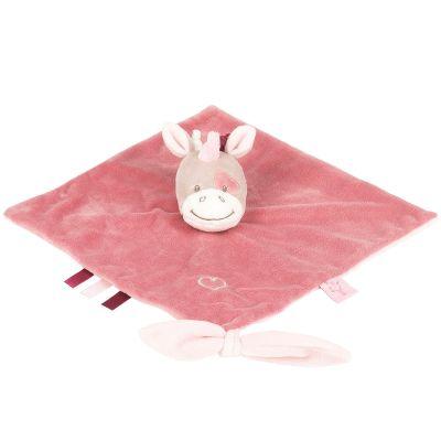 Doudou plat attache sucette Jade la licorne (27 x 27 cm) Nattou