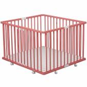 Parc bébé pliable à plancher Gaby en bois massif laqué rose (92 x 98 cm) - Combelle