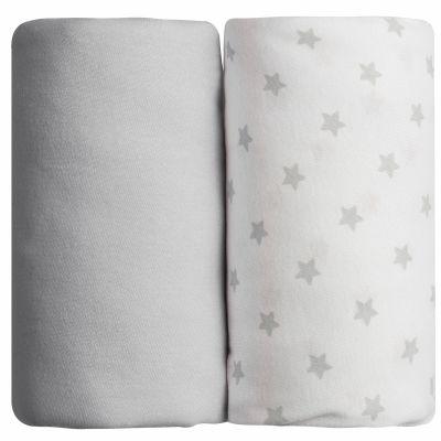 Lot de 2 draps housses étoile gris (70 x 140 cm)  par Babycalin