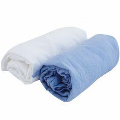 Lot de 2 draps housses coton blanc et ciel (70 x 140 cm)
