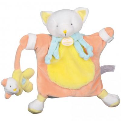 Doudou marionnette chat jaune (24 cm) Doudou et Compagnie