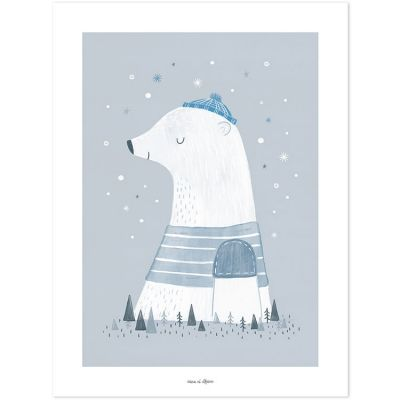 Affiche Artic dream Olaf l'ours polaire (30 x 40 cm)  par Lilipinso