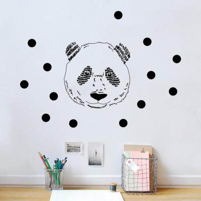 Sticker mural tête de panda  par Mimi'lou