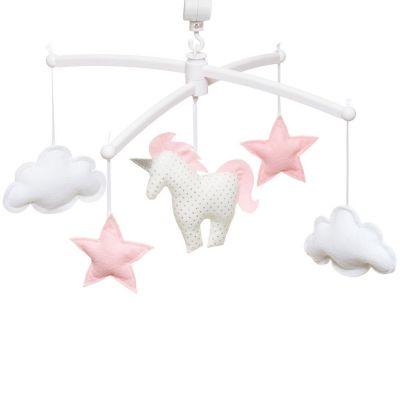 Mobile musical licorne rose chamallow (mélodie au choix)  par Pouce et Lina