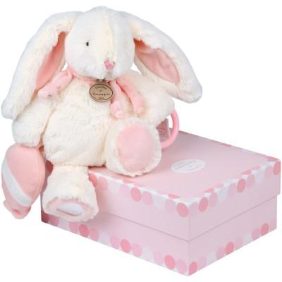 Coffret peluche activités Mon tout petit Lapin Bonbon rose (30 cm)  par Doudou et Compagnie