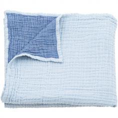 Couverture en coton réversible bleue (100 x 120 cm)