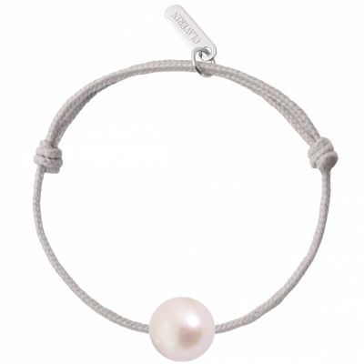 Bracelet bébé Baby Pearly cordon gris perle blanche 7 mm (or blanc 750°)  par Claverin