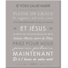 Tableau de prière Je vous salue Marie gris (33 x 41 cm)