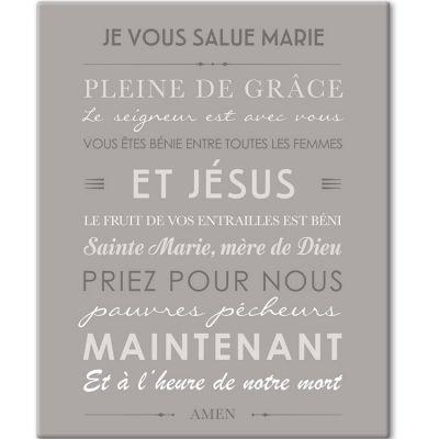 Tableau de prière Je vous salue Marie gris (33 x 41 cm)  par Mes Mots Déco