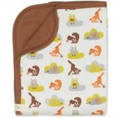 Couverture bébé animaux de la forêt marron et orange (80 x 100 cm) - Fresk