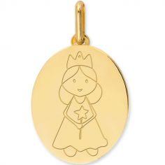 Médaille ovale Fée personnalisable (or jaune 750°)