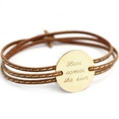 Bracelet cuir maman Amazone family (plaqué or)