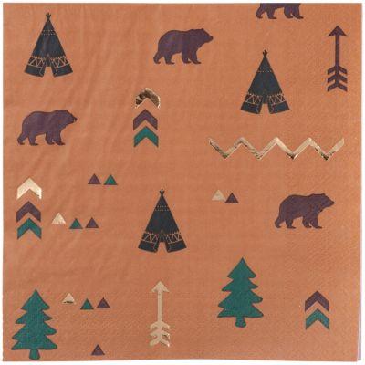 Lot de 16 serviettes en papier Indian Forest  par Arty Fêtes Factory