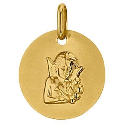 Médaille ronde Ange de Raphaël 16 mm (or jaune 750°)  par Premiers Bijoux