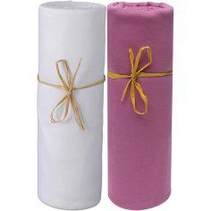 Lot de 2 draps housses en coton bio blanc et lie de vin (60 x 120 cm)