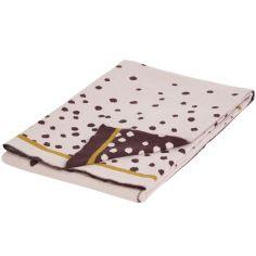 Couverture en coton Jacquard tricotée Happy Dots rose et doré (80 x 100 cm)