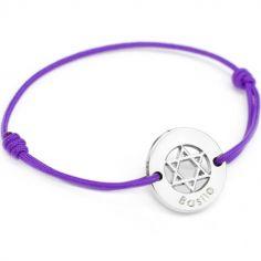 Bracelet cordon Etoile de David (argent 925°)