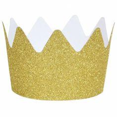 Couronnes glitter dorées (8 pièces)