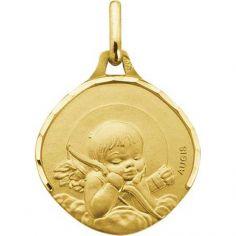 Médaille ovale Ange à l'arc 15 mm facettée (or jaune 750°)