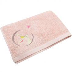 Serviette de bain rose Lapin (70 x 140 cm)
