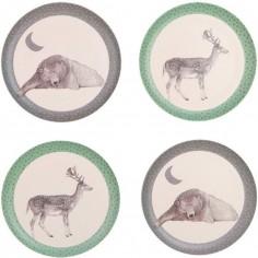 Pack de 4 assiettes l'ours et le cerf