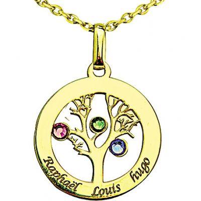 Pendentif arbre de vie avec Swarovski (or jaune 375°)  par Louis de l'Ange