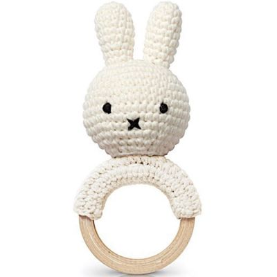 Hochet anneau de dentition Miffy blanc  par Just Dutch