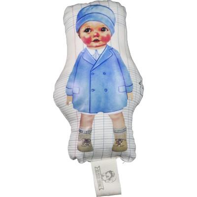 Doudou gling Garçon manteau Bleu Canards et carreaux (12 cm) Les Petits Vintage