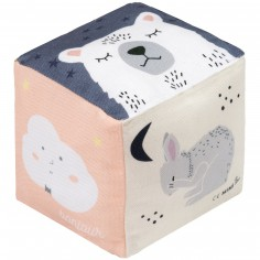 Cube en tissu Bonjour