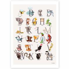 Affiche A3 abécédaire animalier grise