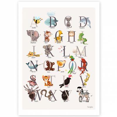 Affiche A3 abécédaire animalier grise  par Kanzilue