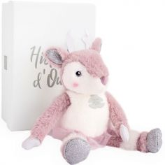 Peluche Eléa l'élan Happy Family rose (25 cm)