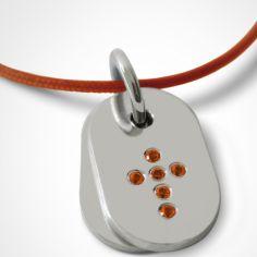 Collier cordon de baptême avec topazes orange mandarine personnalisable (argent 925°)