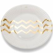 Assiettes en carton blanches chevrons dorés (12 pièces) - Arty Fêtes Factory